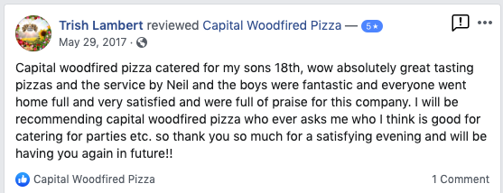 Woodfired pizza catering canberra client testimonial 1
