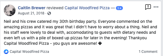 Woodfired pizza catering canberra client testimonial 2